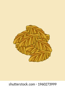 This vector illustration is a cookie in the shape of a leaf, and this cake can usually be found on big days like Eid, this cake has jam in it, that's pineapple jam.