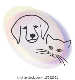 This is the vector Illustration of Dog and cat