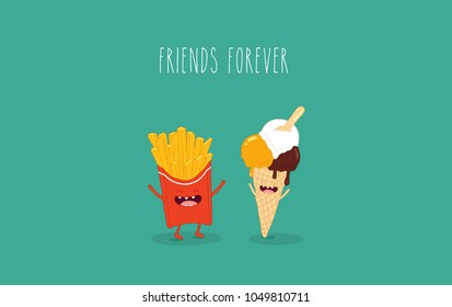 This is a vector illustration. The French fries with ice cream cone are friends forever. You can use for cards, fridge magnets, stickers, posters.