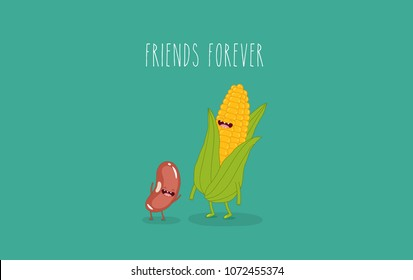 This is vector illustrations. Funny corn, beans, peas are friends forever. You can use for cards, fridge magnets, stickers, posters.