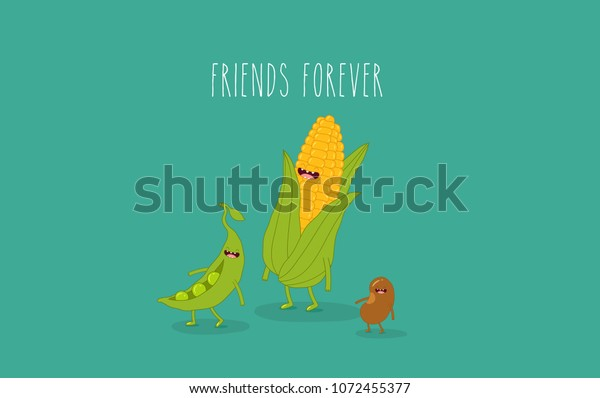 This Vector Illustrations Funny Corn Beans Stock Vector