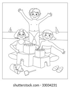 This vector image depicts three children who make a castle of sand. The space of the picture are white, so that they can be colored at a later time (album coloring for children)