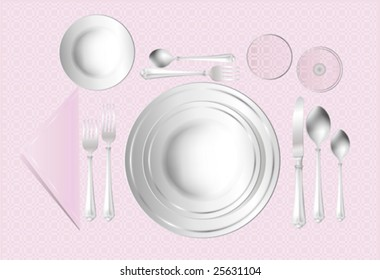 This vector picture represents a dinner set.