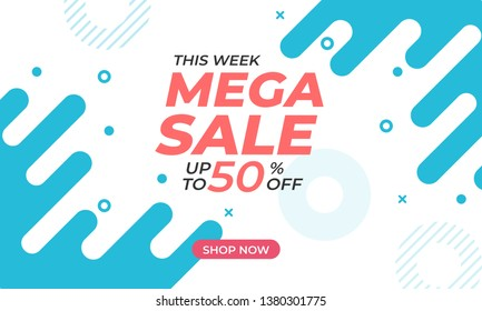 This week mega sale up to 50% off. Sale banner template design with dynamic shape background and bright color. Applicable for promotional, social media post, marketing kit.