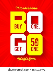 This weekend BOGO Sale banner design template. Buy One, Get One 50% off sale, special offer, vector illustration.