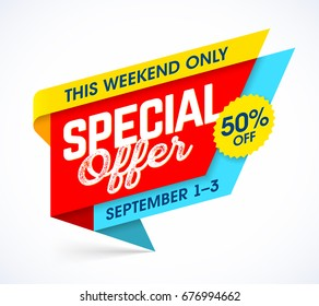 This weekend only special offer. Sale campaign banner design template, up to 50% off, vector illustration