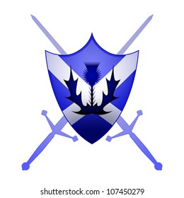 Thistle and Claymore swords with a St. Andrews cross sheild