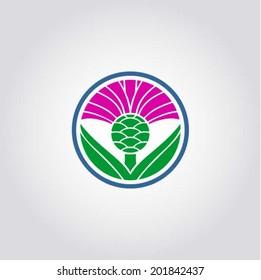 The thistle - floral emblem of Scotland, app symbol, design element, vector illustration, symmetric composition