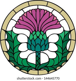 The thistle, the floral emblem of Scotland, vector illustration in stained glass window style, symmetric composition
