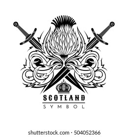 Thistle with leaf pattern and crossed swords. Symbol of Scotland design element black on white