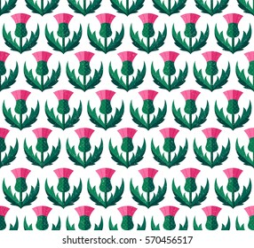 Thistle seamless pattern.  Background with symbol of Scotland, UK, vector illustration