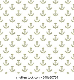 Thistle seamless pattern, floral emblem of Scotland background, vector