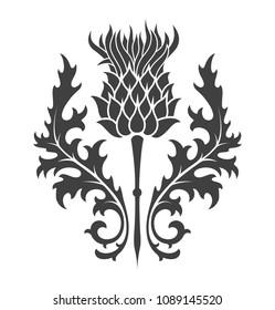 thistle silhouette print heraldry
