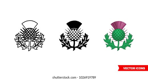 Thistle symbol of scotland icon of 3 types: color, black and white, outline. Isolated vector sign symbol.
