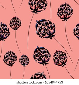 Thistles seamless pattern. Vector illustration on pink background