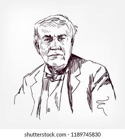 Thomas Alva Edison vector sketch illustration portrait