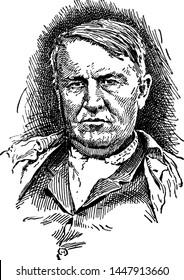 Thomas Alva Edison, vintage illustration