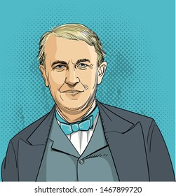 Thomas Edison (1847-1931) portrait in line art illustration. He is one of America's greatest inventors that invented the first light bulb, phonograph, telegraph, alkaline storage batteries and camera.