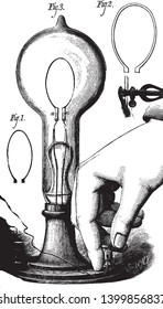 Thomas Edison invented first lightbulb and its filament, vintage line drawing or engraving illustration