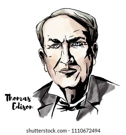 Thomas Edison watercolor vector portrait with ink contours. American inventor and businessman, who has been described as America's greatest inventor.