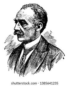 Thomas Hardy, 1840-1928, he was an English novelist and poet, vintage line drawing or engraving illustration