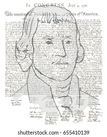 Thomas Jefferson and Declaration 4 july vector