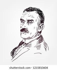 Thomas Mann vector sketch illustration portrait