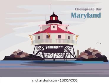 Thomas Point Shoal Light lighthouse, Chesapeake Bay, Maryland, United States. Vector illustration