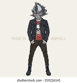 Thomass leaf monkey dressed up in punk style, hipster animal, furry art illustration