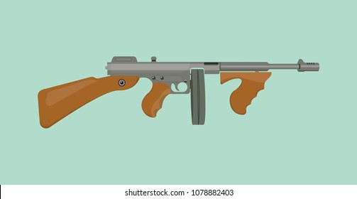 thompson tommy submachine gun vector flat illustration