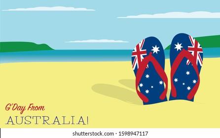 Des thongs dans la scène sablonneuse de la fête nationale australienne au format vectoriel.