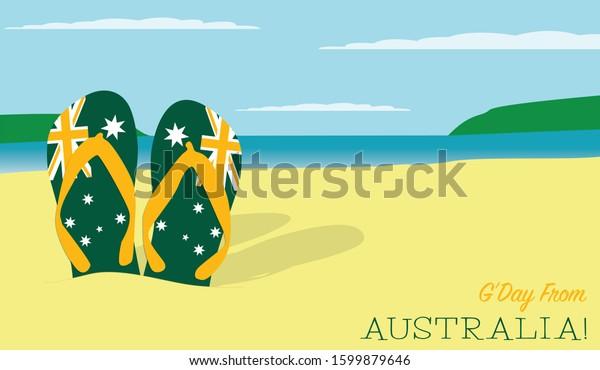 Thongs in the sand Australia Day scene in vector format.