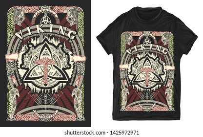 Thor hammer, dragons and sword. Helm of Awe. Celtic pagan. Viking slogan. Print for t-shirts and another, trendy apparel design