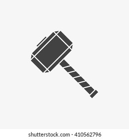 Thor Hammer Icon in trendy flat style isolated on grey background, for your web site design, app, logo, UI. Vector illustration, EPS10.