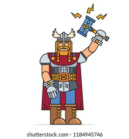 Thor - Scandinavian god of thunder, lightning and storm holding magic hammer Mjolnir. Colourful cartoon vector illustration.