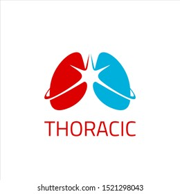 thoracic medical logo simple vector with iconic lungs for design inspiration