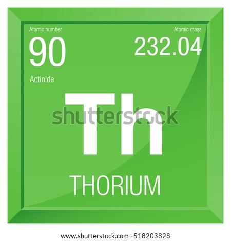 Thorium Symbol Element Number 90 Periodic Stock Vector Royalty Free