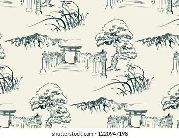 thorium temple nature landscape view vector sketch illustration japanese chinese oriental line art seamless pattern