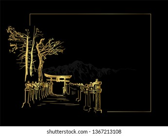 thorium toro alley view landscape card vector sketch illustration japanese chinese oriental line art black gold