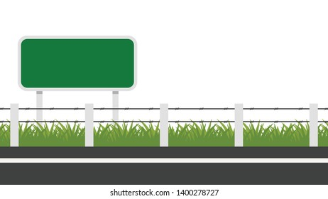 Thorn fence. fence vector. wallpaper. free space for text. copy space. blank. road side.