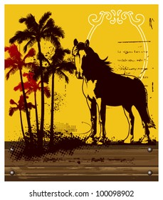 thoroughbred horse with summer background