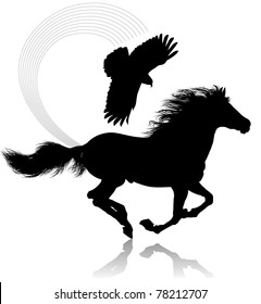 The thoroughbred horse that gallops. The kite flies over a horse.