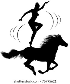 The thoroughbred horse that gallops. A woman dances on the back of a horse.