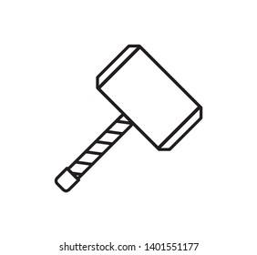 Thor's Hammer Mjölnir icon logo vector illustration