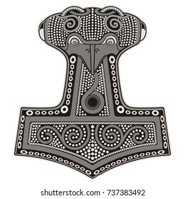 Thor's hammer - Mjollnir and the Scandinavian ornament, isolated on white, vector illustration