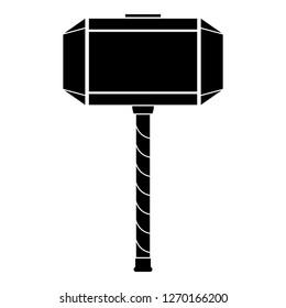 Thor's hammer Mjolnir icon black color