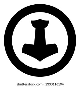 Thor's hammer Mjolnir icon black color vector in circle round illustration flat style simple image