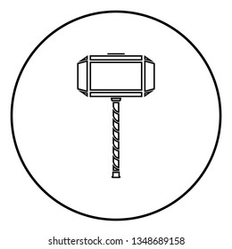 Thor's hammer Mjolnir icon outline black color vector in circle round illustration flat style simple image