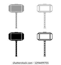 Thor's hammer Mjolnir icon set grey black color vector illustration outline flat style simple image