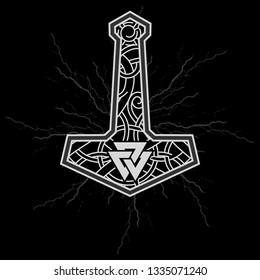 Thors hammer - Mjolnir and the Scandinavian ornament, isolated on black, vector illustration